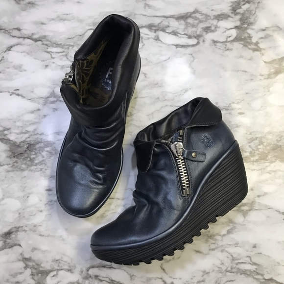 bf7fa73d382 Fly London Yoxi Leather Ankle Wedge Boots